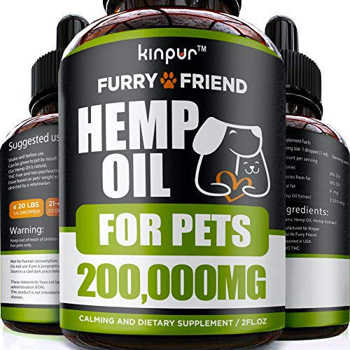 Hemp Oil for Dogs & Cats - 200,000 MG - Anxiety Relief for Dogs & Cats - 100% Organic Pet Hemp Oil - Supports Hip & Joint Health - Grown & Made in USA - Natural Relief for Pain