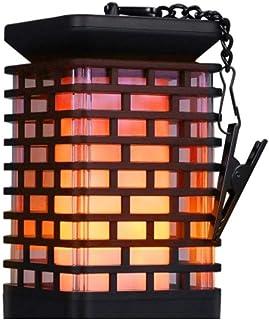 Mainstayae Solar Lights Metal Flickering Flame Solar Lantern Outdoor Hanging Lanterns Lighting Solar Powered Waterproof Um...