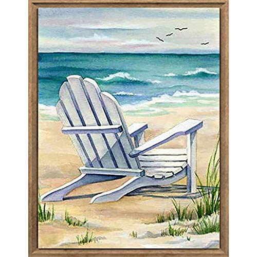 Bimkole DIY 5D Diamond Painting Kit Chair Beach by Number Kits Paint with Diamonds Arts DIY for Home Decor, 12X16 inch(m3-928)