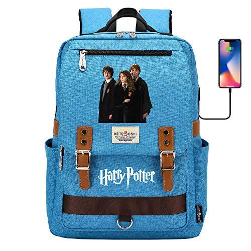 DDDWWW Mochilas Escolares Hogwarts, Bolsas de la Escuela Mágica para Buenos Amigos, Mochilas Multifuncionales y Bolsas de Almuerzo Ligeras 42CM/30CM/16CM Azul