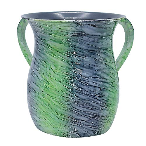 The Kosher Cook Stainless Steel Netilat Yadayim Cup – Aquatic Blue Green Painted Design - Looks Like Ceramic - Rust, Break and Crack Proof Negel Vasser Cup - Judaica Gift Collection
