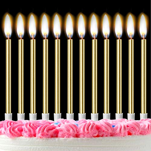 Mostfun 12PCS Birthday Candles with Real Flames Party Supplies for Cakes Sparkler Candles for Birthday Dinner Party (Gold)