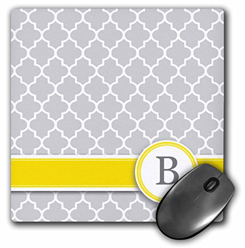3dRose LLC 8 x 8 x 0.25 Inches Mouse Pad, Your Personal Name Initial Letter B Monogrammed Grey Quatrefoil Pattern Personalized Yellow/Gray (mp_154568_1)