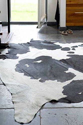 Fell-Teppich echtes Rinderfell Schwarz Gemustert in 2 Größen