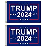 2 pieces Donald Trump 2024 Flag, Blue Polyester Flag with Heavy Brass Grommet, Outdoor Indoor Decoration Banner, 3x5 Feet