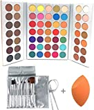 Beauty Glazed Sweatproof Eyeshadow Palettes + Makeup Brushes Set + Sponge Blender Pigmented 63 Pop Colors Matte Shimmer Metallic Blendable Soft Cream Powder Makeup Eye Shadow Palettes for Beginners