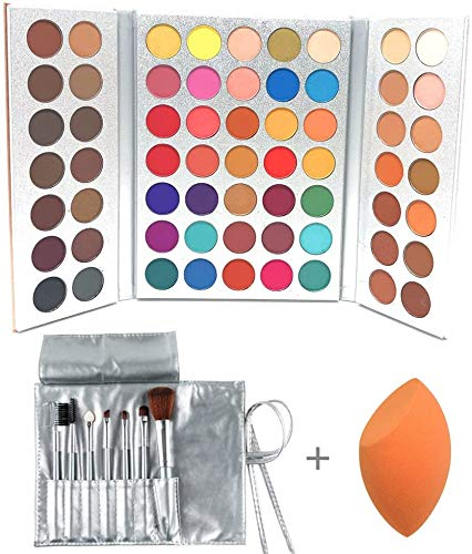 Beauty Glazed Gorgeous Me Eyeshadow Palette Pigmented Professional Makeup Pallet Long Lasting Eye Makeup Set 63 Colors Waterproof Matte And Shimmers Glitters With Brush Sets and Powder Blender