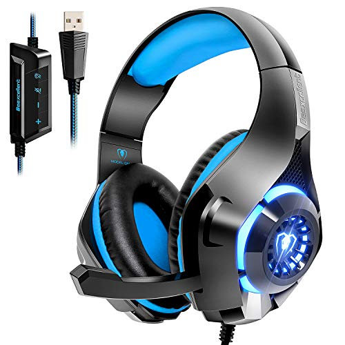 Beexcellent USB Gaming Headset for PC,7.1 Surround Sound PC Headset with Noise Canceling Mic Volume Control LED Light for Laptops