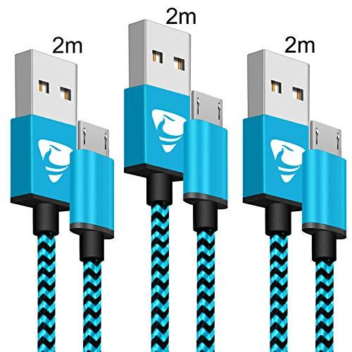 Aione Cable Micro USB [3 Pack, 2M], Cable Cargador Movil,Cargador Android Trenzado de Nylon,Carga Rápida Compatible con Samsung Galaxy J7 J5 J4 J3 S7 S6 Edge A10 A10s,Huawei P8 Lite,Sony,Xiaomi,PS4