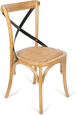 Boho Traders Back Chair with Solid Rattan Seat, Black
