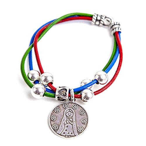 Kokomorocco Pulsera medalla virgen niña de plata de ley con cuero de tres colores, para mujer o niña Regalos Originales