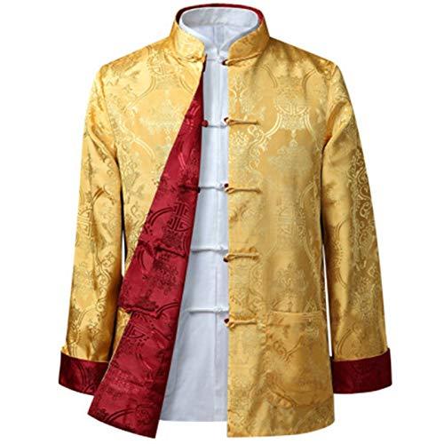 Hanfu Tang traje Traje Tang - Estilo chino Chaqueta China China Chaqueta China Kung FU Ropa Uniforme de rendimiento de fiesta de doble cara Fácil de usar y duradero ( Color : Yellow red , Size : 185 )