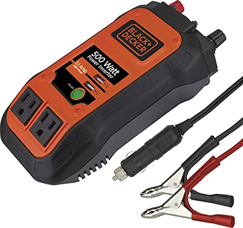 power inverter with battery clamps BLACK+DECKER PI500B 500W Power Inverter: Dual 120V AC Outlets, 3.1A USB Ports, 12V DC Adapter, Battery Clamps