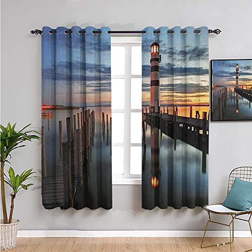 lighthouse Thermal Insulated Room Darkening Curtains, Curtains 45 inch length calm dusk at bay lighthouse and wooden boardwalk reflections on water clouds Easy to install W63 x L45 Inch multicolor