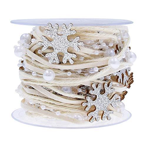 CAOLATOR Weihnachten Stoffband Weihnachtsband Perlenkette Dekorationsband Stern Schleifenband Dekoband Dekoration Satinband Weihnachtsbänder für Weihnachten Hochzeit Deko Dekoration
