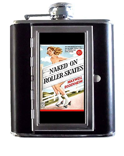 Naked On Roller Skates Vintage Lowbrow Pulp Art 5oz Stainless Steel & Leather Hip Flask with Built-In Cigarette Case