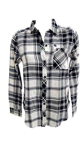 Abercrombie & Fitch - Camisa - Cuadrados - para Mujer Blanco-Negro S
