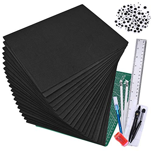 Winlyn 20 Pcs EVA Foam Sheets 6mm Craft Foam Cosplay Foam 9' x 12' Black Foam Boards with Cutting Mat Compass Hobby Knife Ruler Pencils for Cosplay Boy Scouts Halloween Crafts Projects Cushion