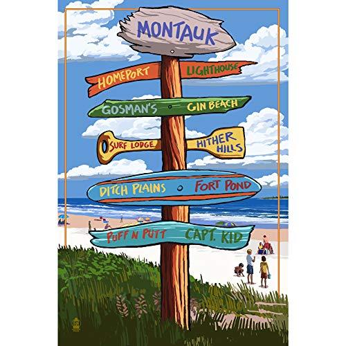 Generic Brands Montauk, Nueva York, Sign Destinations, Art Prints, Wall Hanging Decorative Metal Sign, Home Decor Tin Sign, Placa de metal para casa o decoración de pared del hogar.