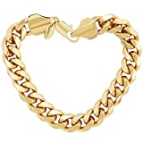 LIFETIME JEWELRY 11mm Cuban Link Chain Bracelet for Men & Women 24k Gold Plated, 8 Inches