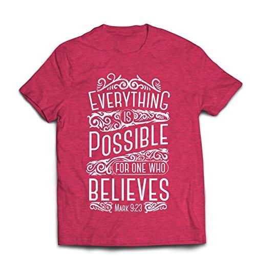 Maglietta da Uomo Gesù Cristo: Tutto è Possibile per Chi Crede - Religione Cristiana, Fede, Bibbia - Pasqua - Risurrezione (Medium Erica Rossa Multicolore)