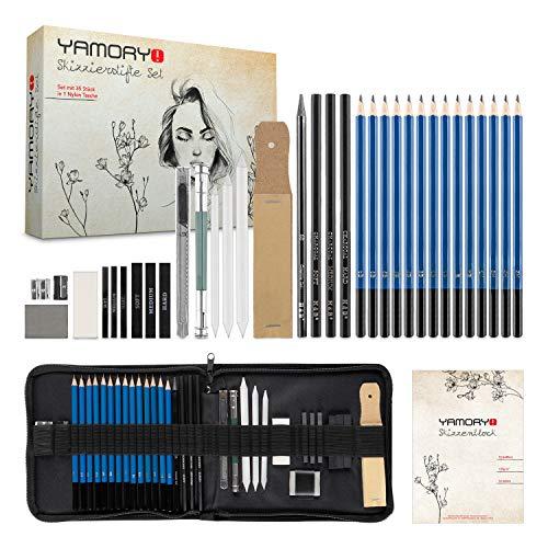 YAMORY! ® Zeichenset – [35] teiliges Zeichen Set – [14] Zeichenstifte in unterschiedlichen Härtegraden – mit Zeichenutensilien - inklusive Aufbewahrungstasche & Skizzenblock (35)