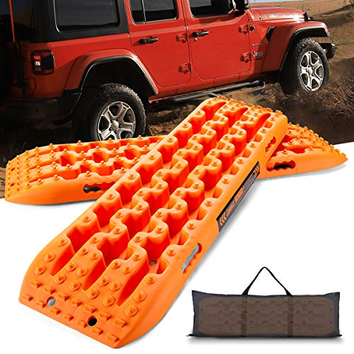 LEADRACKS Traction Boards for Off-Road Truck, Cars, Sand, Snow, Mud, 4X4 Recovery Traction Mats for Tire Traction Track Tool&Vehicle Extraction with Safety Reflective Stickers and Bag,2 Pcs, Orange