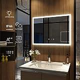 Meykoers Wandspiegel Badezimmerspiegel LED Badspiegel mit Beleuchtung 90x70cm Spiegel mit Touch-Schalter, Uhr, Beschlagfrei, Lichtspiegel Kaltweiß 6400K