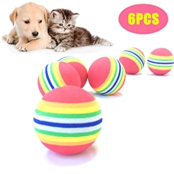 peiujin Jouet pour chat soft Lot de 12balles arc-en-ciel Balles Mousse 4.2cm de diamètre