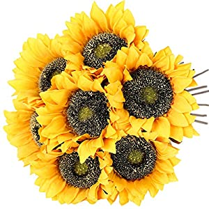 Hawesome Vintage Sunflowers Artificial Flowers 7 Pcs Faux Silk Sunflowers Bouquet Fake Real Touch Long Stems Floral for Wedding Party Centerpieces Home Decoration(Gold)