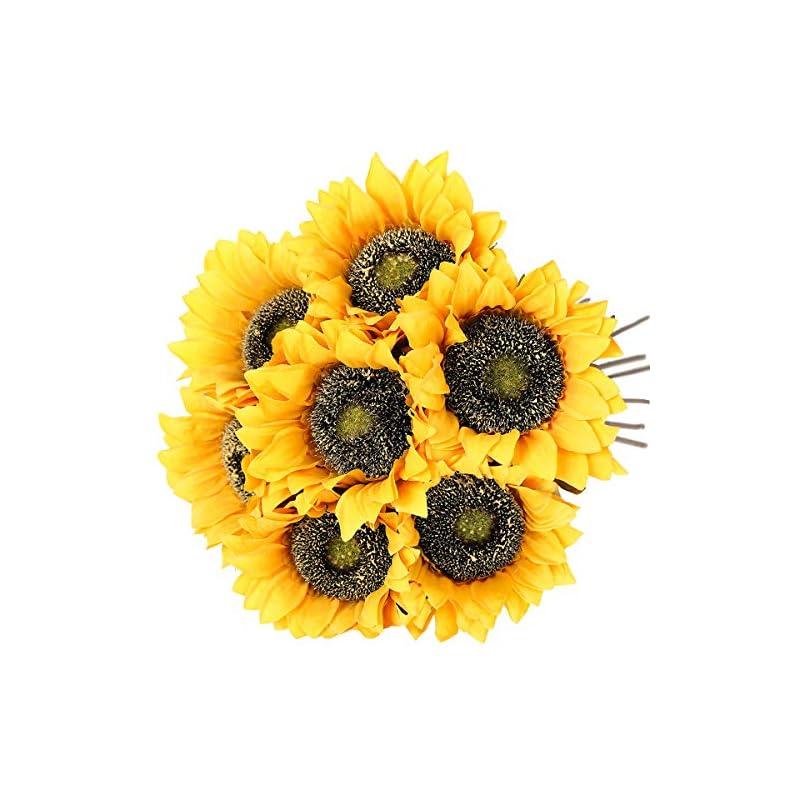 silk flower arrangements hawesome vintage sunflowers artificial flowers 7 pcs faux silk sunflowers bouquet fake real touch long stems floral for wedding party centerpieces home decoration(gold)