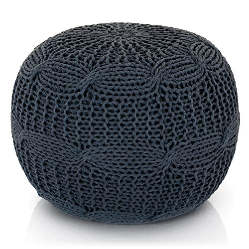 Lincove Hand Knitted Pouf – 100% Cotton Braid Cord Floor Stuffed Ottoman - Handmade & Hand Stitched Pouf (Grey Knit, Pouf)