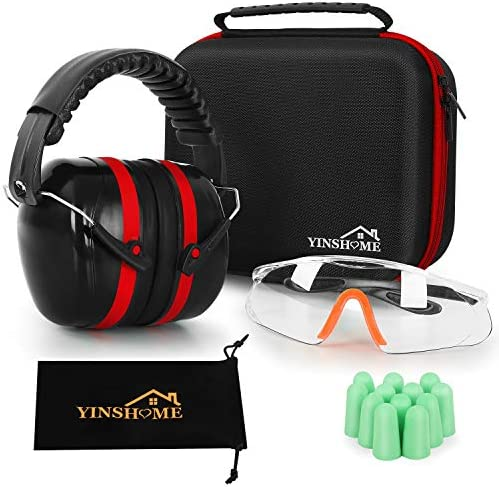 YINSHOME Shooting Ear Protection Earmuffs Gun Safety Glasses Earplugs Protective Case product image