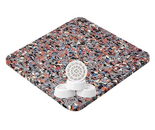 Antivibrationsmatte für Waschmaschine oder Trockner, Antirutschmatte mit farbigen Einschlüssen - 62x60x0,6 cm + Vibrationsdämpfer 4er Set