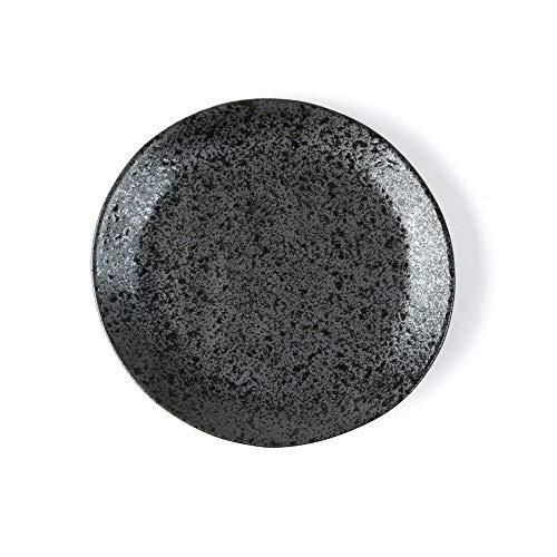 Holst Porzellan RT 321 Re-Active Carbon - Plato llano (porcelana, 21 cm, 20,5 x 20,5 x 2,5 cm, 6 unidades), color negro