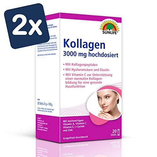 SUNLIFE Kollagen Sticks: Kollagenpeptide und Hyaluronsäure für Elastizität und Erhaltung schöner Haut, 3000mg - 2er Pack