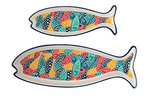 Villa d'Este Home Tivoli Can Fisher Set 2 vassoi pesce in hard dolomite