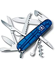 Victorinox Huntsman zakmes (15 functies, schaar, houtzaag, kurkentrekker) blauw transparant