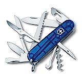 Victorinox Huntsman Couteau de Poche Suisse, Léger, Multitool, 15 Fonctions, Tire Bouchon, Grand Lame, Ouvre Boite, Bleu Transparent