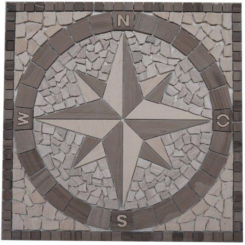 Marmor Rosone 60x60 cm Kompass Naturstein Windrose Mosaik Fliesen Einleger 031