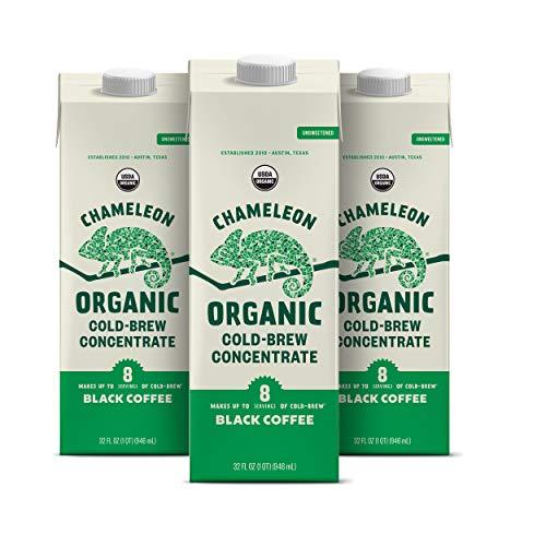 Chameleon Organic Cold Brew Black Coffee Multi-serve Concentrate, 100% Arabica, Toffee & Chocolate, 32 Fl Oz x 3 Cartons