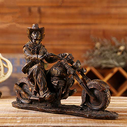 YOUZE Estatuillas de Vaquero del Oeste Americano de Resina Figuras de miniaturas de Modelos de Motocicletas Vintage Accesorios de decoración del hogar, como en la Imagen