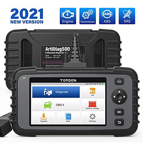 TOPDON Outil de Diagnostic Professionnel ArtiDiag500 OBD2 Scanner pour Moteur Transmission ABS SRS Lecteur de Code AutoVIN Fonctions OBDII Complète Test Tension Batterie Voiture