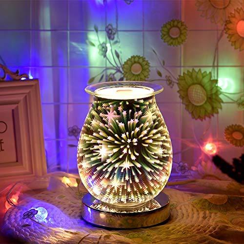 xcxc Aroma Electric Wax Burner Wachsschmelzer, 3D-Wärmerlampe Einstellbare Nacht Aroma Lampe Elektrischer Ölbrenner für Wachsschmelzen, Zuhause, Büro (Touch-Muster)