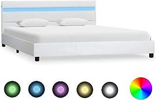 vidaXL Cadre de Lit avec LED Sommier à Lattes Lit Rembourré Lit Coffre Lit Adulte Lit Double Chambre à Coucher Maison Blan...
