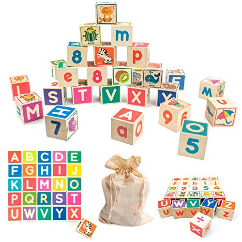 Quokka Wooden Blocks for Toddlers 1-3 Large, 26 Alphabet Number Animals Wood Blocks Puzzle Games for Babies, Montessori Learning Blocks for Toddlers 3-5 in a Bag