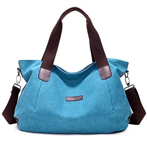 L-sister Bolsos de lona para mujer, bolsos de mujer, bolsos para niñas, bolsos de mujer exagerados de gran capacidad, estilo único (color: azul, tamaño: 44 x 14 x 28 cm)