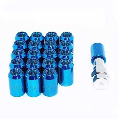 MODAUTO Juego de Tuercas Abiertas para Esparrago Rueda o Separadores, con Llave de Apriete Hexagonal, Paso de Rosca M12 X 1,25mm, 20Pcs, Modelo F320ABL, Color Azul