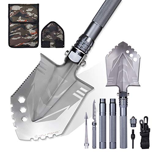 WF WU FANG Survival Shovel Multitool, Camping Shovels High Carbon Steel Folding Shovel, Outdoor Military Tactical Shovel...