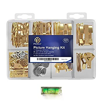 Pickily Premium 225 Piece Picture Hanging Kit Assorted Picture Hangers Includes Nails Hanging Wire Screw Eyes D Ring Sawtooth for Wall Mounting Mini-Gradient Level and Much More.